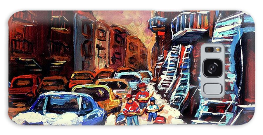 Montreal Galaxy S8 Case featuring the painting Hockey Paintings Of Montreal St Urbain Street Winterscene by Carole Spandau