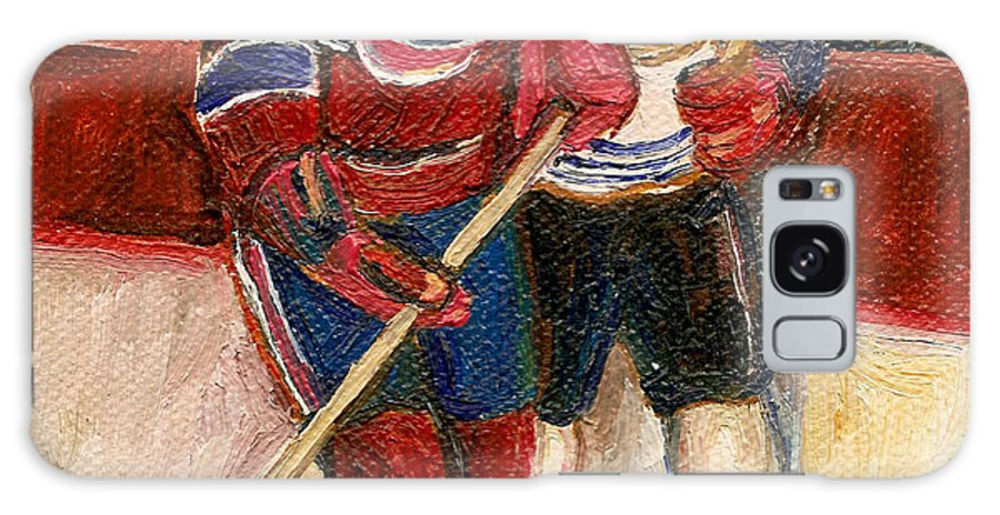 Hockey Galaxy S8 Case featuring the painting Hockey Stars At The Forum by Carole Spandau