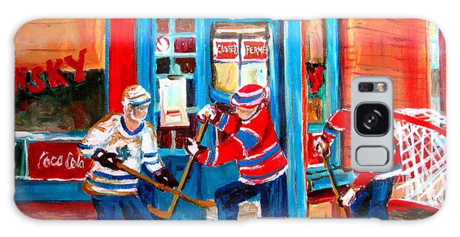 Wilenskys Galaxy Case featuring the painting Hockey Sticks In Action by Carole Spandau
