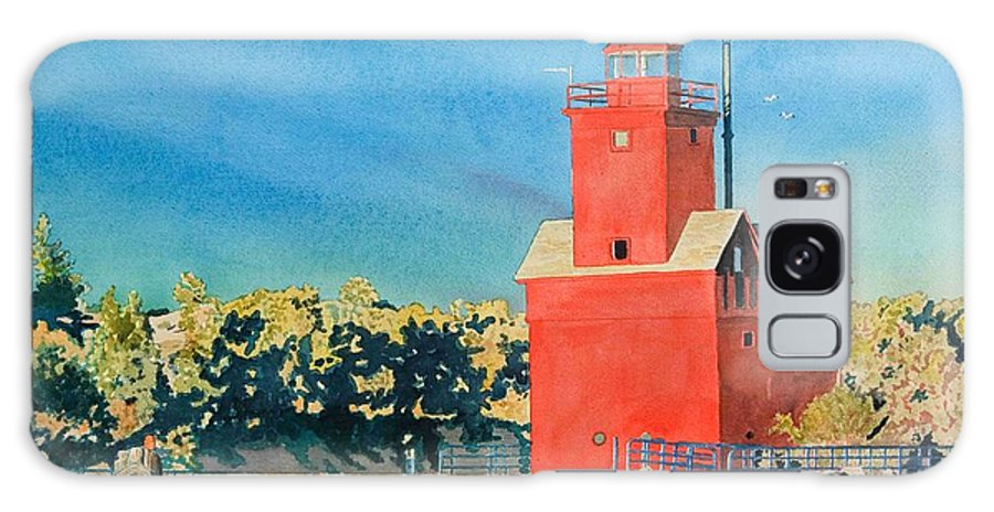Holland Galaxy S8 Case featuring the painting Holland Lighthouse - Big Red by LeAnne Sowa