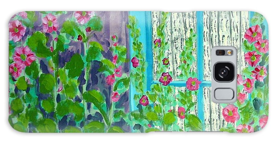 Hollyhocks Galaxy Case featuring the painting Hollyhock Surprise by Laurie Morgan
