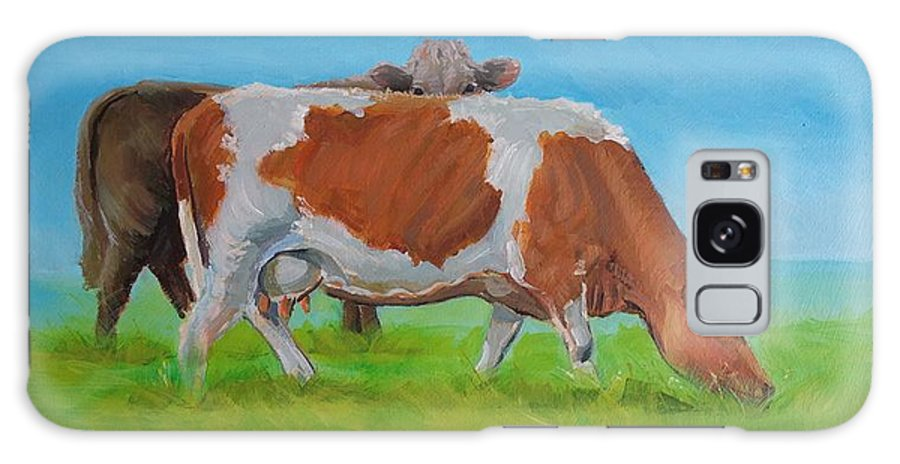 Holstein Galaxy S8 Case featuring the painting Holstein Friesian Cow And Brown Cow by Mike Jory