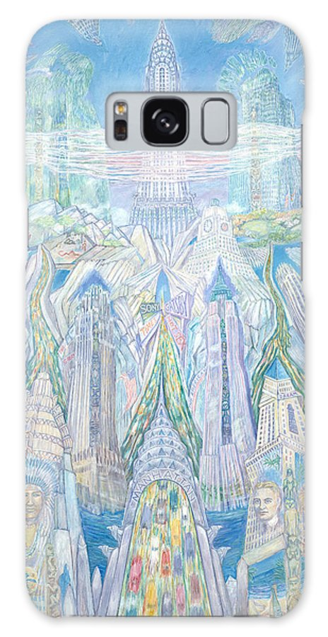 New York Cityscape Galaxy Case featuring the painting Homage To New York And The Chrysler Building by Patricia Buckley