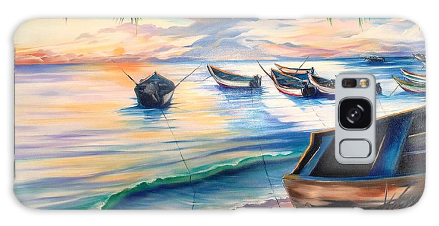 Ocean Painting Caribbean Painting Seascape Painting Beach Painting Fishing Boats Painting Sunset Painting Blue Palm Trees Fisherman Trinidad And Tobago Painting Tropical Painting Galaxy S8 Case featuring the painting Home From The Sea by Karin Dawn Kelshall- Best