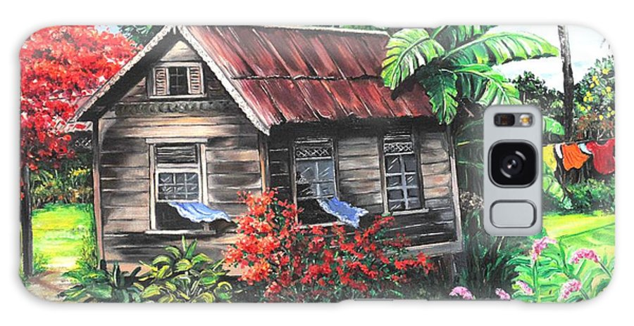 Caribbean House Galaxy Case featuring the painting Home Sweet Home by Karin Dawn Kelshall- Best