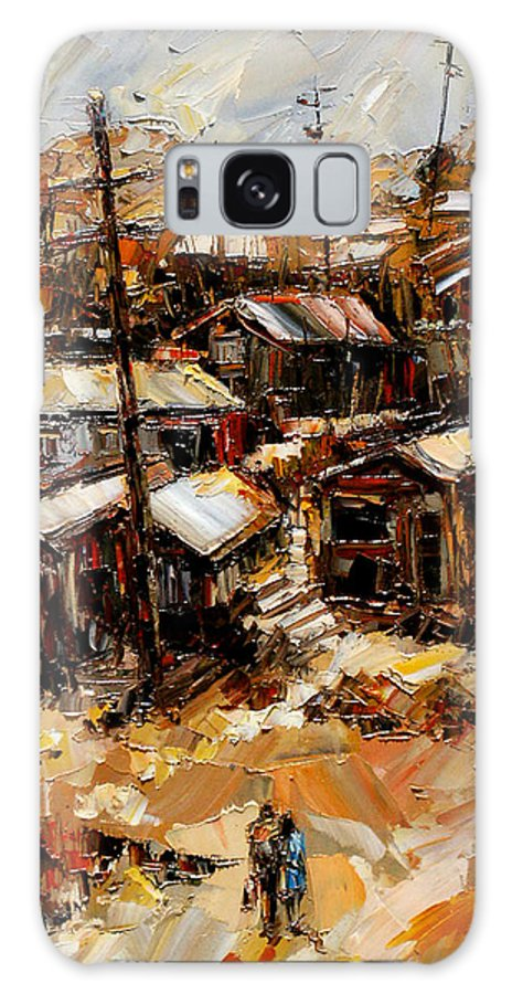 Chaves Revine Galaxy S8 Case featuring the painting Homes In The Hills Chaves Revine by Debra Hurd