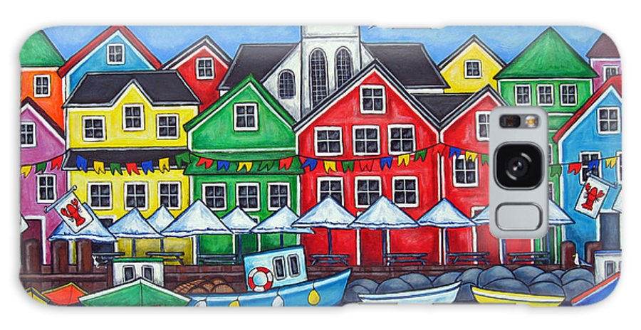 Boats Canada Colorful Docks Festival Fishing Flags Green Harbor Harbour Galaxy S8 Case featuring the painting Hometown Festival by Lisa Lorenz