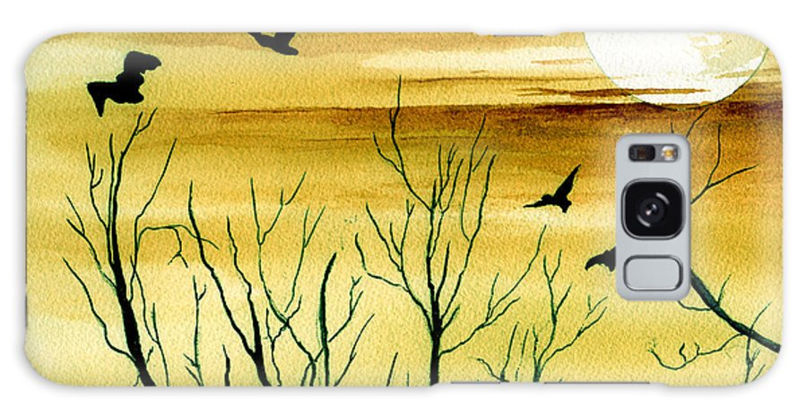 Landscape Watercolor Birds Ravens Crows Trees Sun Sunset Sky Clouds Galaxy S8 Case featuring the painting Homeward by Brenda Owen