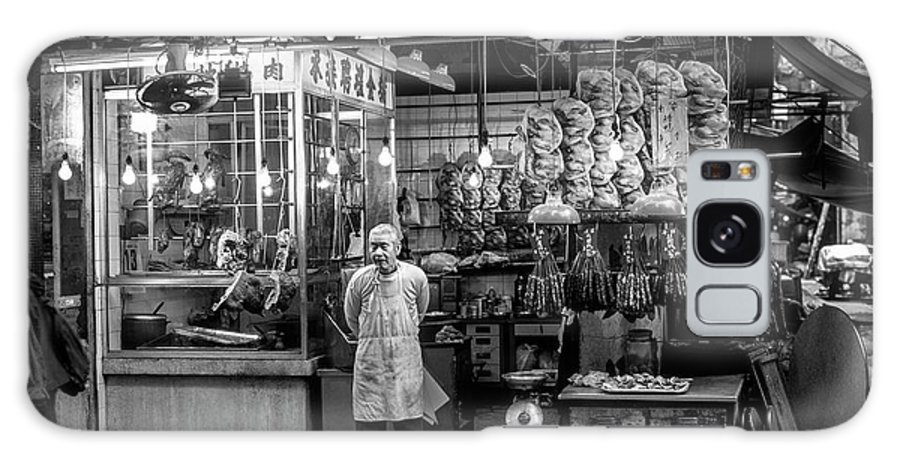 Adult Galaxy S8 Case featuring the photograph Hong Kong Foodmarket In Black And White, China by Ruurd Dankloff