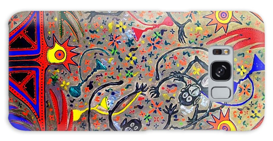 Contemporary Folk Art Galaxy S8 Case featuring the painting Hookah Monkeys - Jinga Monkeys Series by Fareeha Khawaja