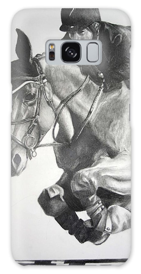 Horse Galaxy Case featuring the drawing Horse And Jockey by Darcie Duranceau