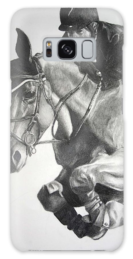 Horse Galaxy S8 Case featuring the drawing Horse And Jockey by Darcie Duranceau