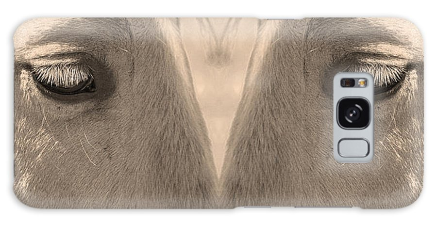 Close-ups-horse-horses Galaxy S8 Case featuring the photograph Horse Eyes Love Sepia by James BO Insogna