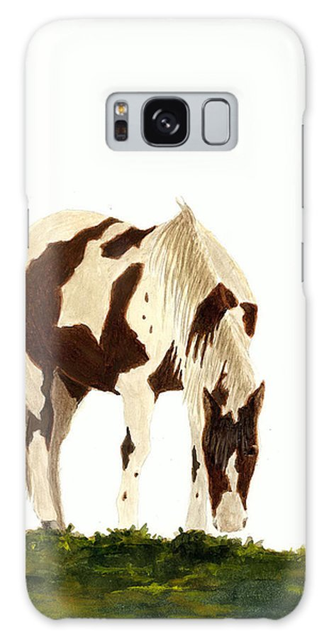 Horse Galaxy S8 Case featuring the painting Horse Grazing by Michael Vigliotti