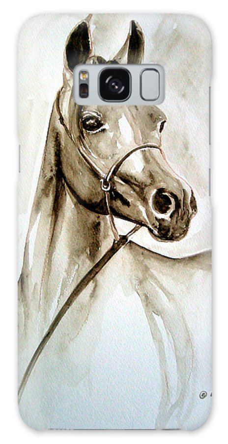Portrait Of A Horse Galaxy Case featuring the painting Horse by Leyla Munteanu