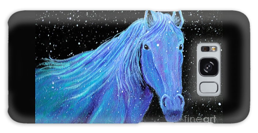 Horse Galaxy S8 Case featuring the painting Horse-midnight Snow by Nick Gustafson