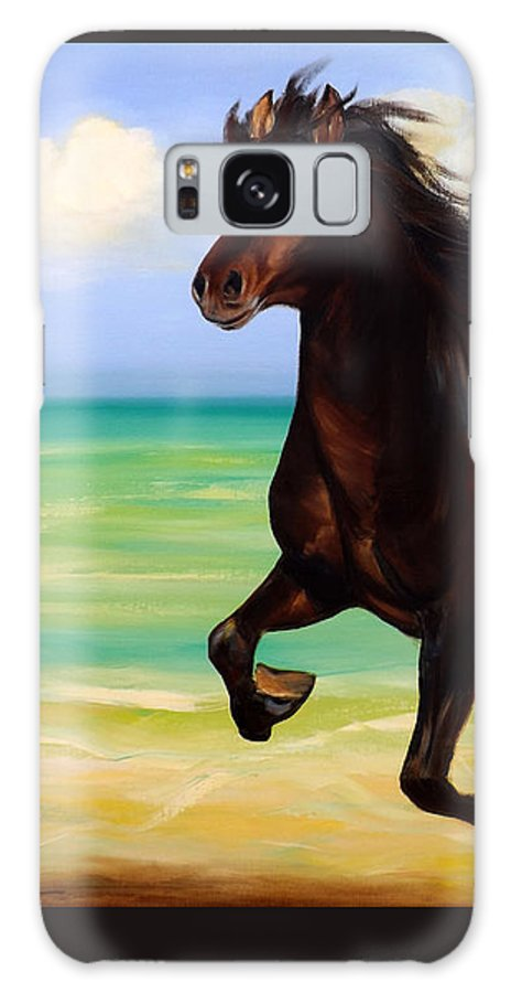 Horses Galaxy S8 Case featuring the painting Horses In Paradise Run by Gina De Gorna