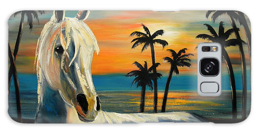 Horse Galaxy Case featuring the painting Horses In Paradise Tell Me Your Dream by Gina De Gorna