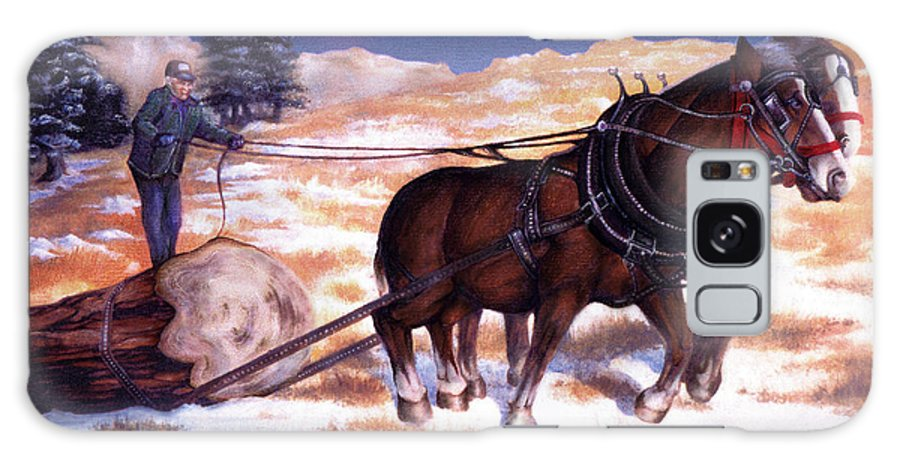 Horse Galaxy Case featuring the painting Horses Pulling Log by Curtiss Shaffer