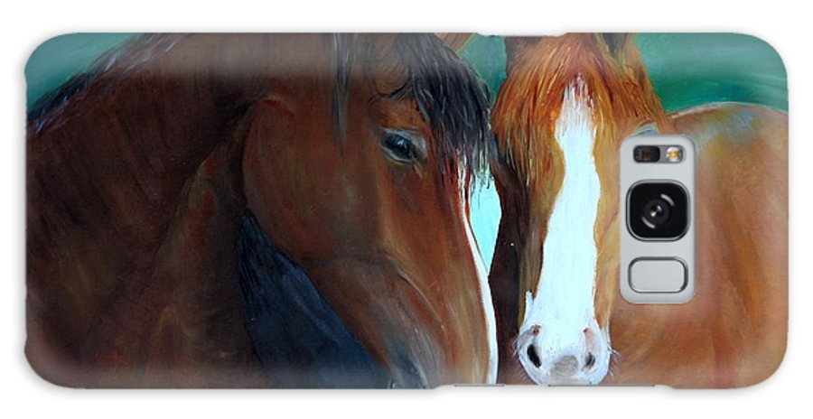 Horses Galaxy Case featuring the painting Horses by Taly Bar