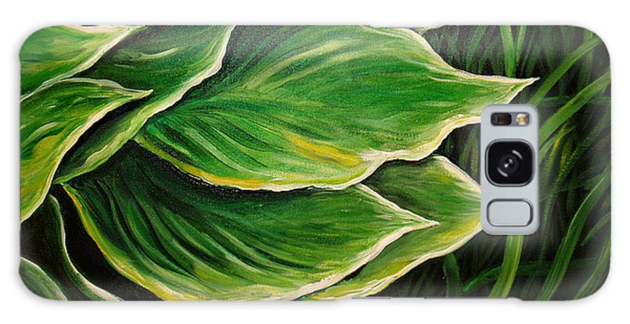 Hostas Galaxy S8 Case featuring the painting Hostas And Grass Painting by Nancy Mueller