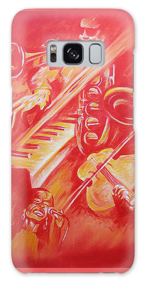 Jazz Music Instruments Singing Acrylic Canvas Galaxy S8 Case featuring the painting Hot Jazz by Shaun McNicholas
