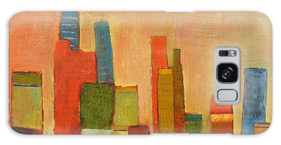 Abstract Cityscape Galaxy S8 Case featuring the painting Hot Manhattan by Habib Ayat