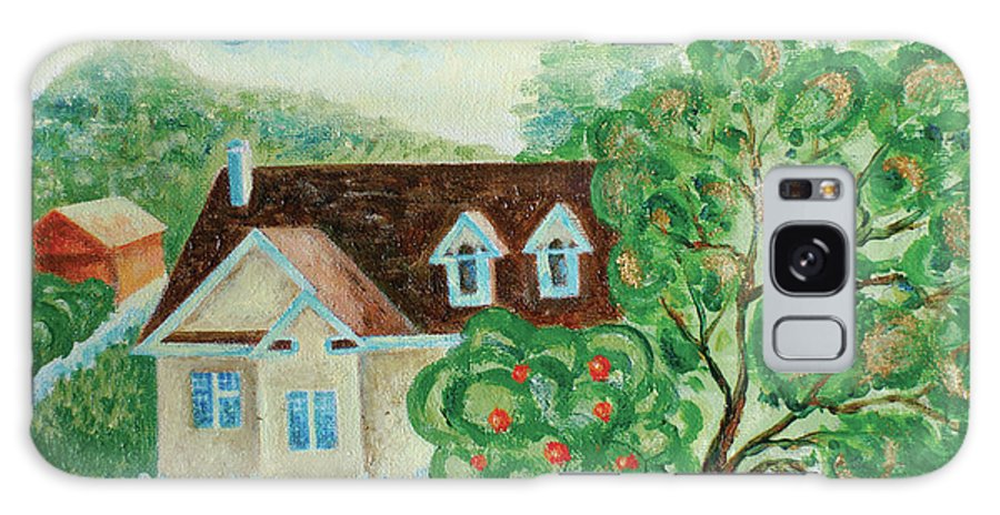 House In The Village Galaxy S8 Case featuring the painting House In The Village by Alla Kolerskaya