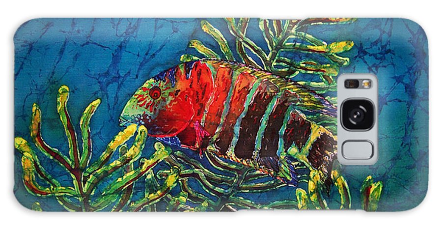 Fish Galaxy Case featuring the painting Hovering - Red Banded Wrasse by Sue Duda