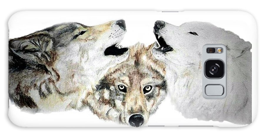 Wolves Galaxy Case featuring the painting Howling by Debra Sandstrom
