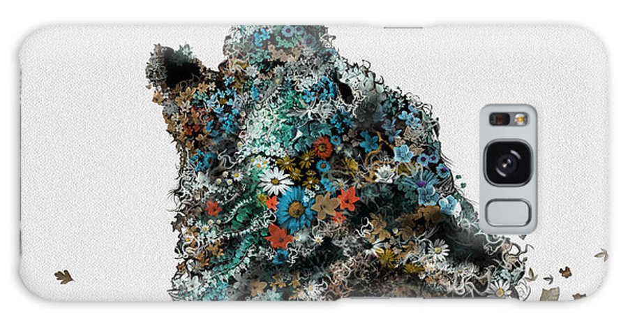 Wolf Galaxy Case featuring the painting Howling Wolf Floral 4 by Bekim M