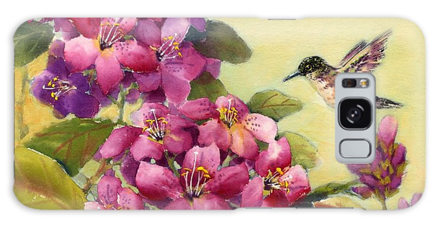 Broadtail Hummingbird Galaxy Case featuring the painting Hummingbird With Rhododendron by Eileen Fong