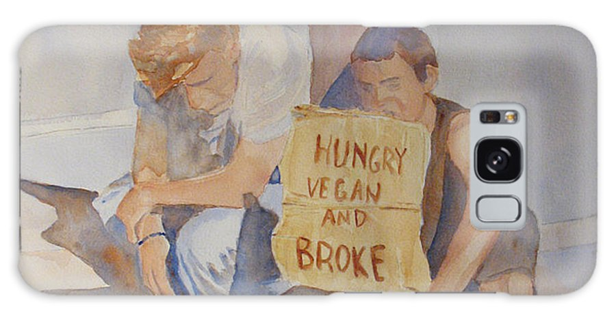 Humorous Galaxy Case featuring the painting Hungry Vegan And Broke by Jenny Armitage