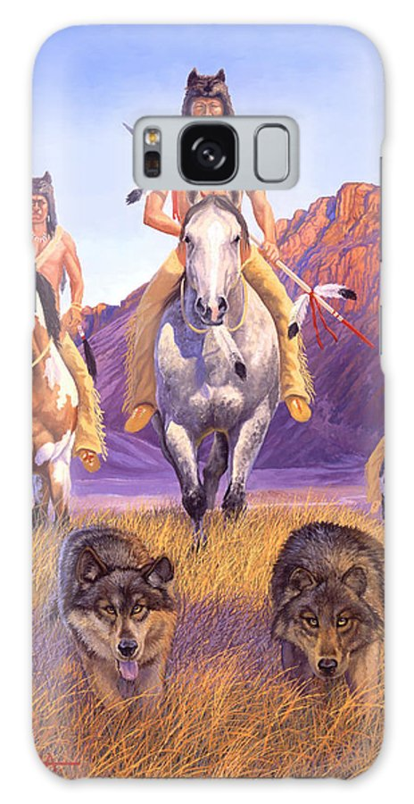 Indian Art Galaxy Case featuring the painting Hunters Of The Full Moon by Howard Dubois