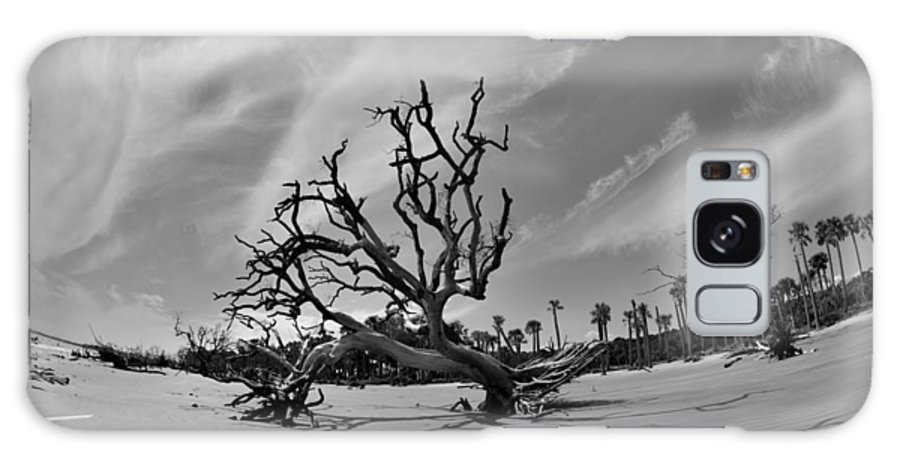 Hunting Island Beach And Driftwood Galaxy S8 Case featuring the photograph Hunting Island Beach And Driftwood Black And White by Lisa Wooten