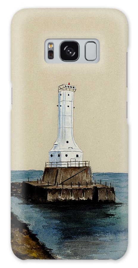 Lighthouse Galaxy S8 Case featuring the painting Huron Harbor Lighthouse by Michael Vigliotti
