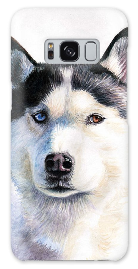 Dog Galaxy Case featuring the painting Husky Blue by Nicole Zeug