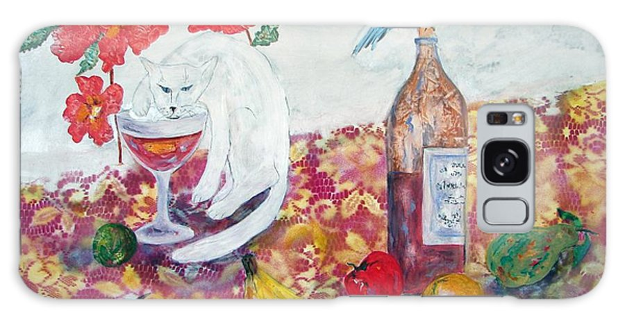 Still Life With Cat And Birds Galaxy Case featuring the painting I Always Said He Drinks Like A Fish by Sarah Wharton White