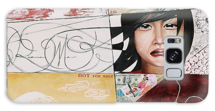 Asian Girl Galaxy Case featuring the painting I Am Not A Tourist Attraction by Teresa Carter