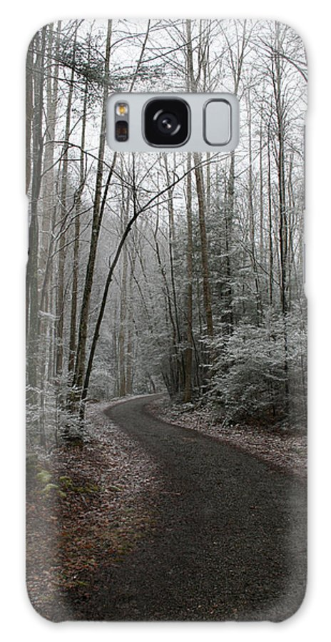 Nature Road Country Woods Forest Tree Trees Snow Winter Peaceful Quite Path White Forest Drive Galaxy Case featuring the photograph I Am The Way by Andrei Shliakhau