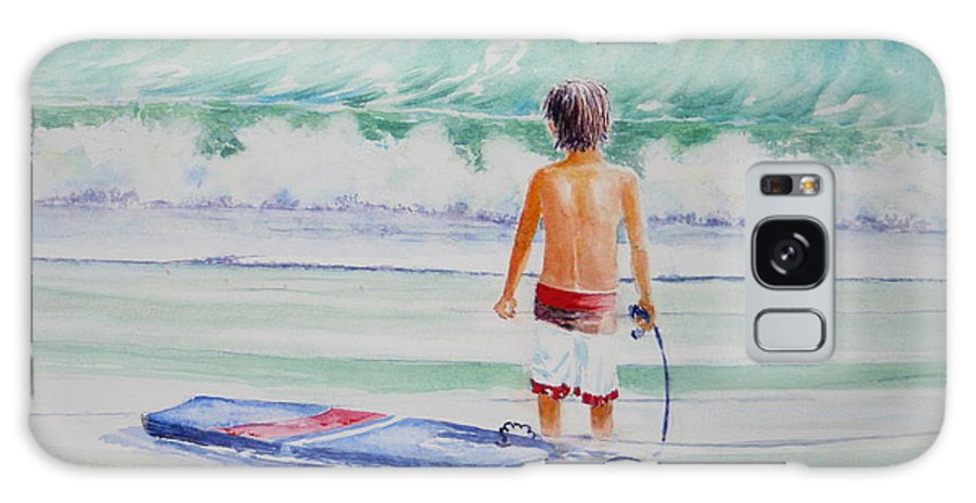 Sea Scape Galaxy S8 Case featuring the painting I Think I Will Wait For Dad. by Tom Harris