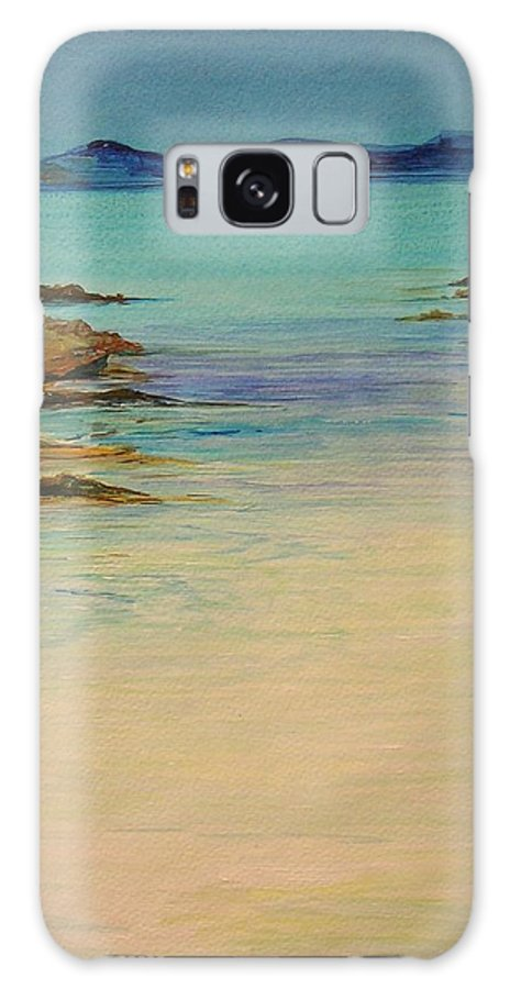 Seascape Original Painting Galaxy S8 Case featuring the painting Ibiza in the distance.... by Lizzy Forrester