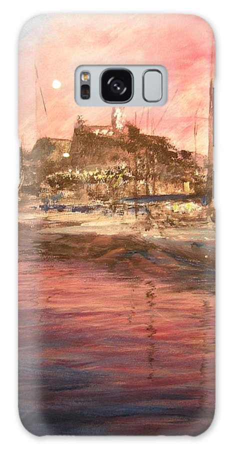 Yachts Galaxy S8 Case featuring the painting Ibiza Old Town At Sunset by Lizzy Forrester