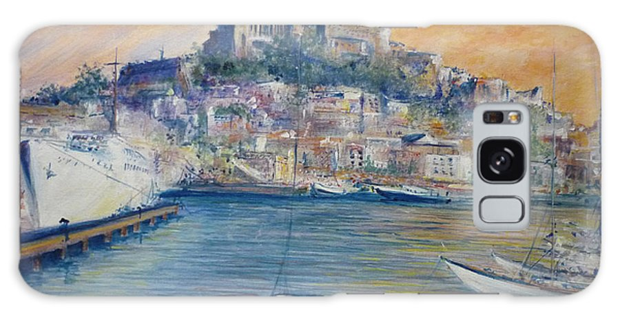 Marina Galaxy Case featuring the painting Ibiza Old Town Marina and Port by Lizzy Forrester