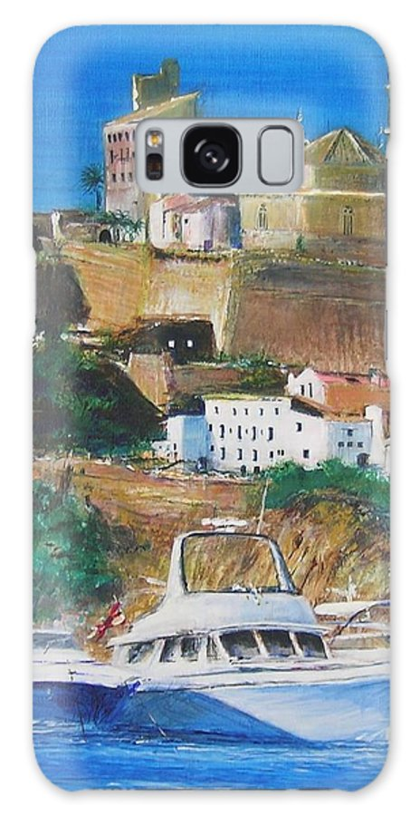 Original Landscape Painting Galaxy Case featuring the painting Ibiza Town by Lizzy Forrester
