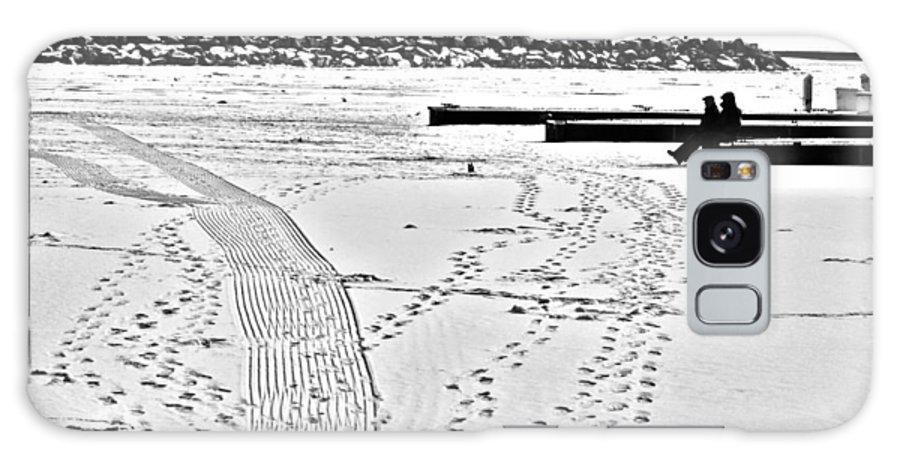 Ice Fishing Galaxy S8 Case featuring the photograph Ice Fishing On Lake Michigan by Barbara Budish