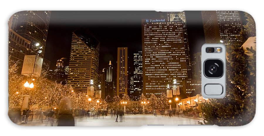 Ice Rink Galaxy Case featuring the photograph Ice Skaters And Chicago Skyline by Sven Brogren