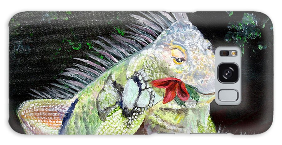 Lizard Galaxy S8 Case featuring the painting Iguana Midnight Snack by Susan Kubes