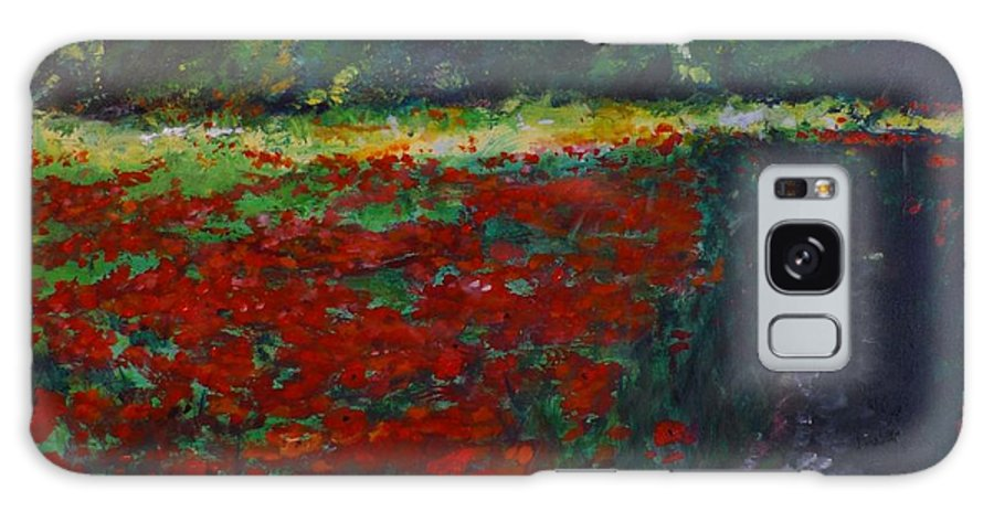Poppy Galaxy Case featuring the painting Impressionist Poppy Field by Lizzy Forrester