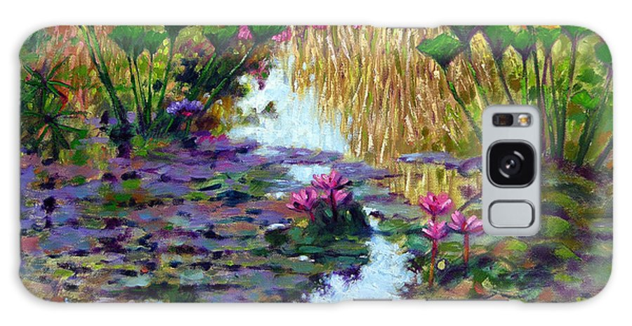 Garden Pond Galaxy S8 Case featuring the painting Impressions Of Summer Colors by John Lautermilch